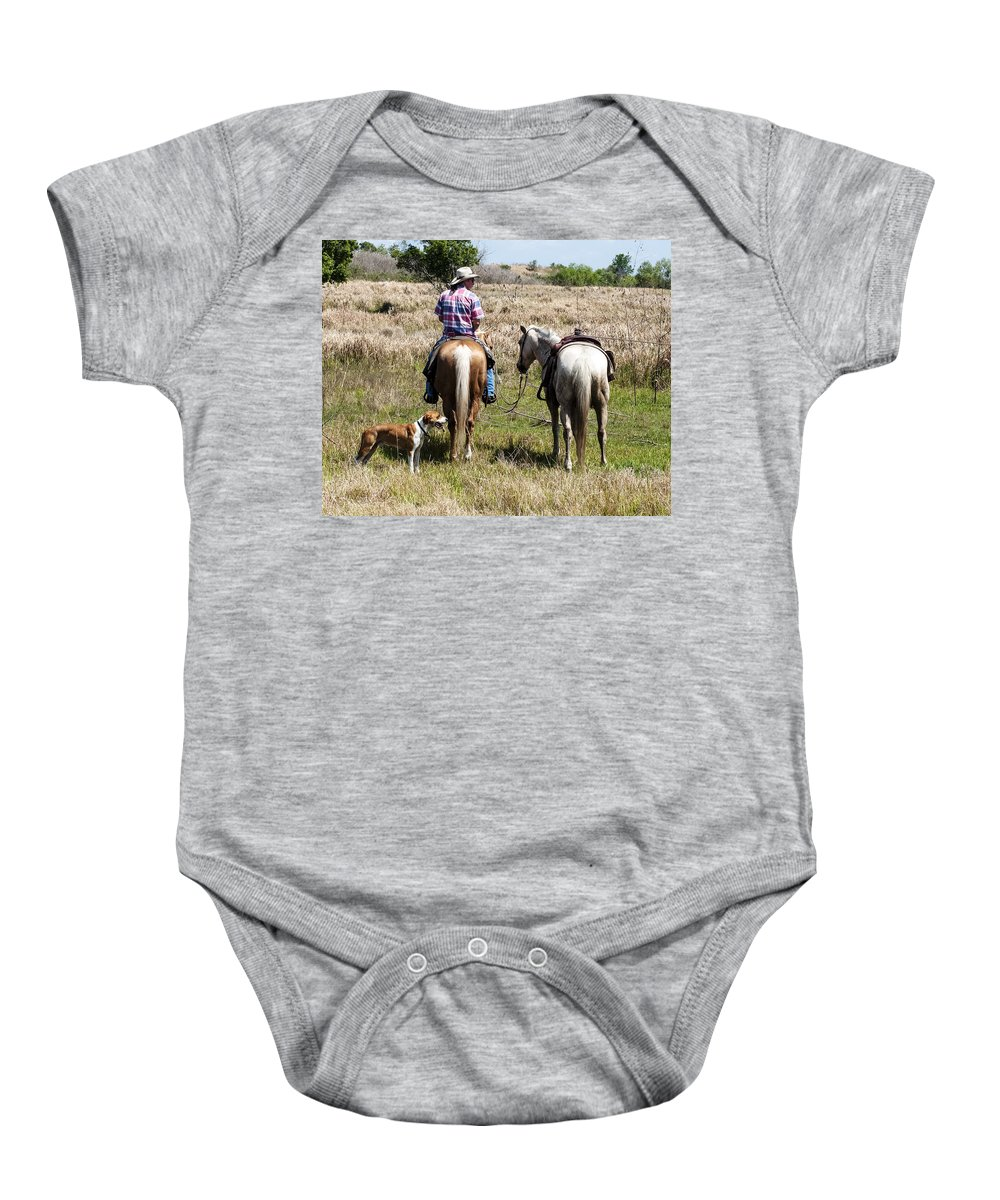 Cattlemen Art Baby Onesie featuring the photograph Holding Tension by Norman Johnson