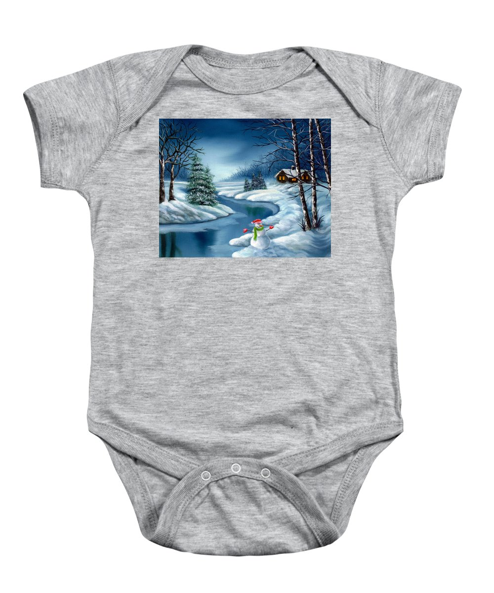 Holidays Baby Onesie featuring the painting Home For The Holidays by Daniel Carvalho