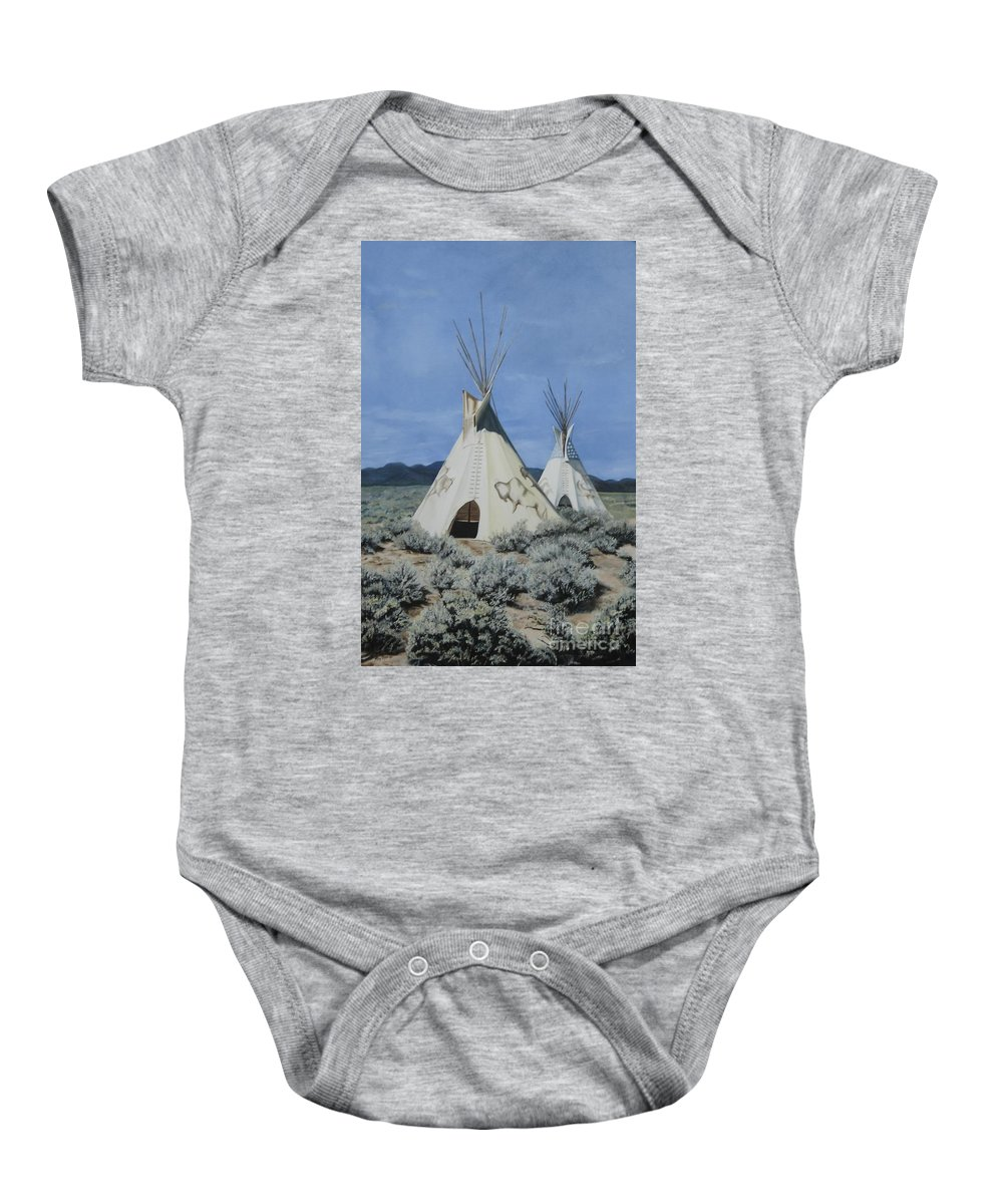 Art Baby Onesie featuring the painting Home On The Range by Mary Rogers
