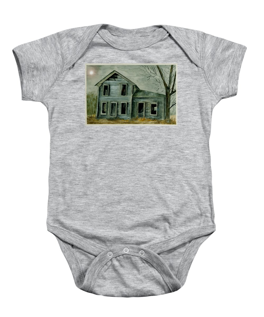 Landscape Watercolor House Ruin Moon Trees Sky Baby Onesie featuring the painting Home Sweet Home by Brenda Owen