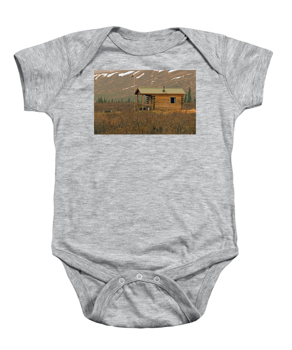 Log Cabin Baby Onesie featuring the photograph Home Sweet Fishing Home In Alaska by Denise McAllister