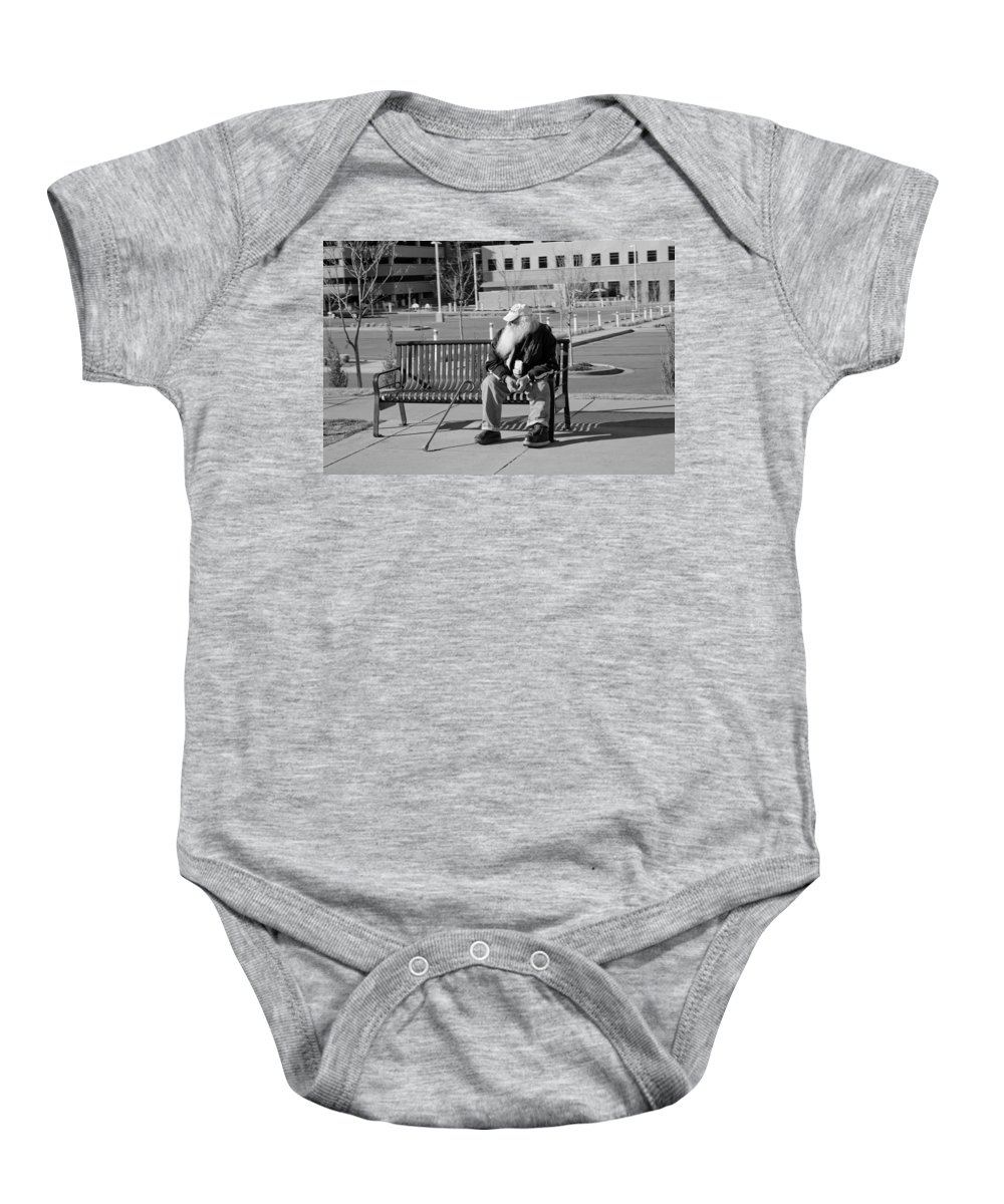 Portrait Baby Onesie featuring the photograph Homeless Man by Angus Hooper Iii
