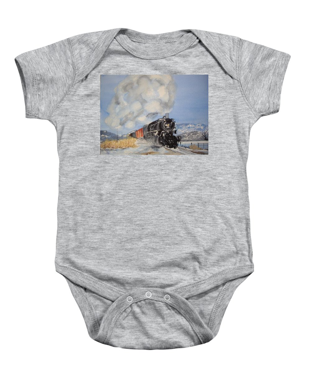 Train Baby Onesie featuring the painting Homeward Bound by Carole Robins