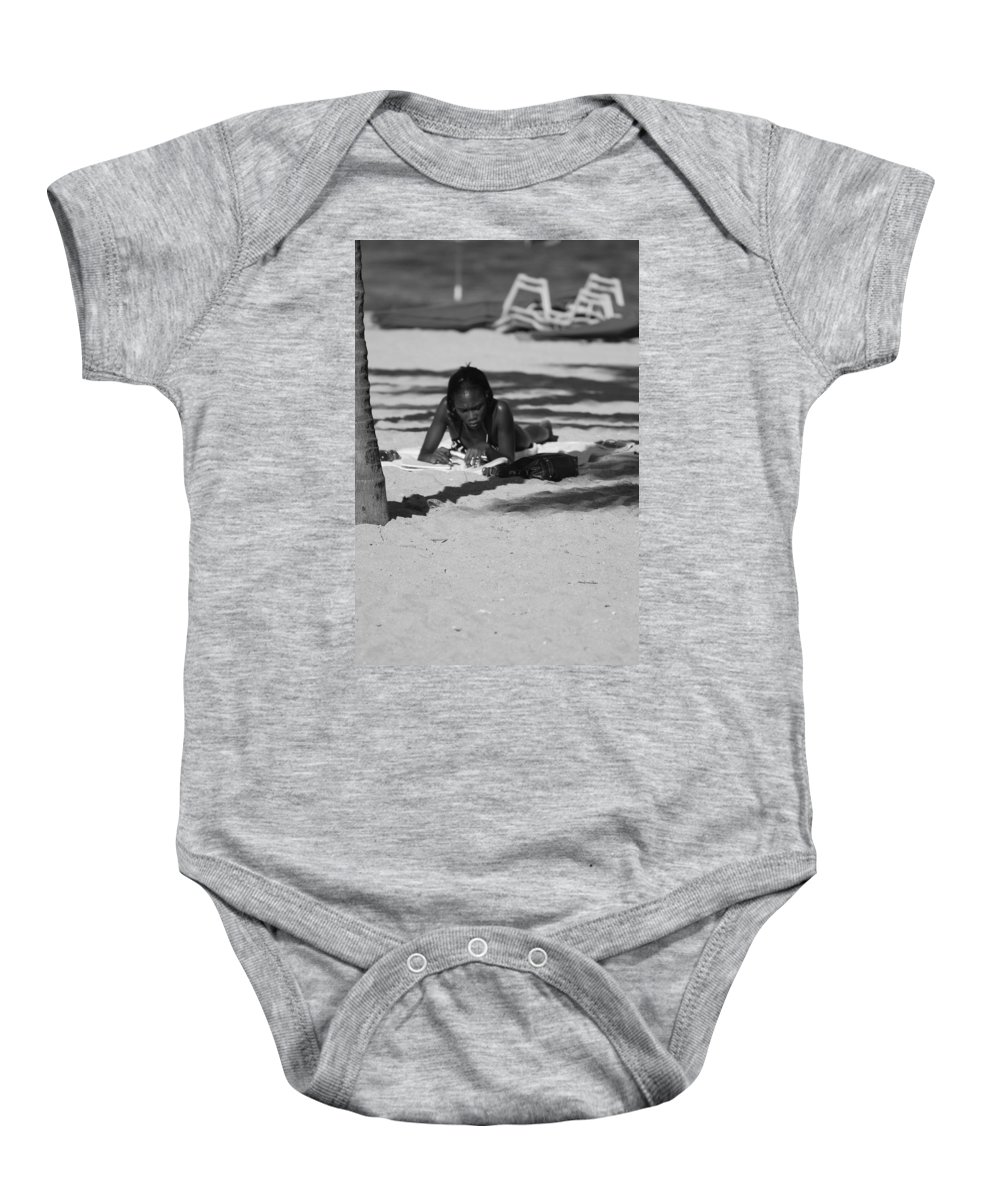 Black And White Baby Onesie featuring the photograph Homework At The Hollywood Beach by Rob Hans