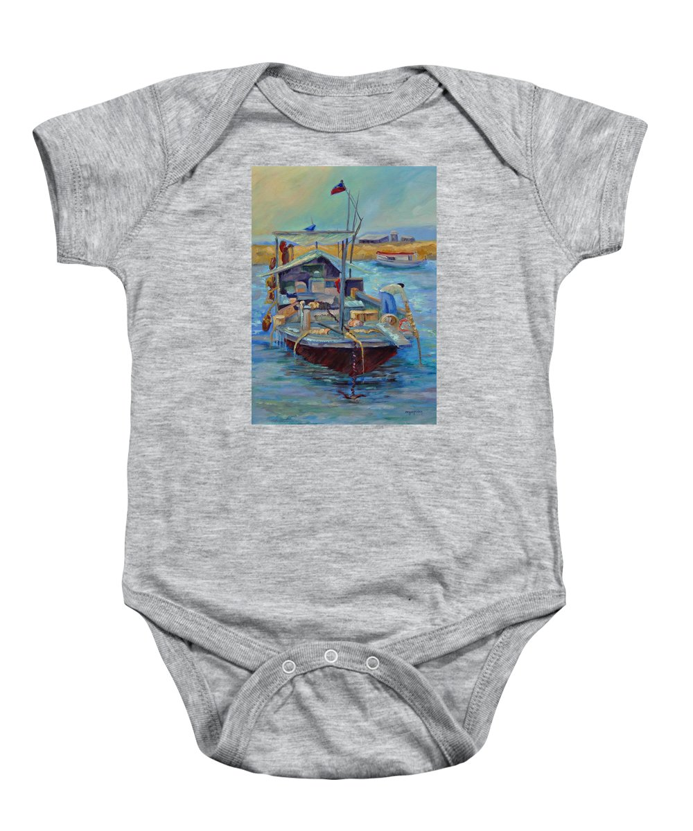 Hong Kong Harbor Baby Onesie featuring the painting Hong Kong Junque by Ginger Concepcion