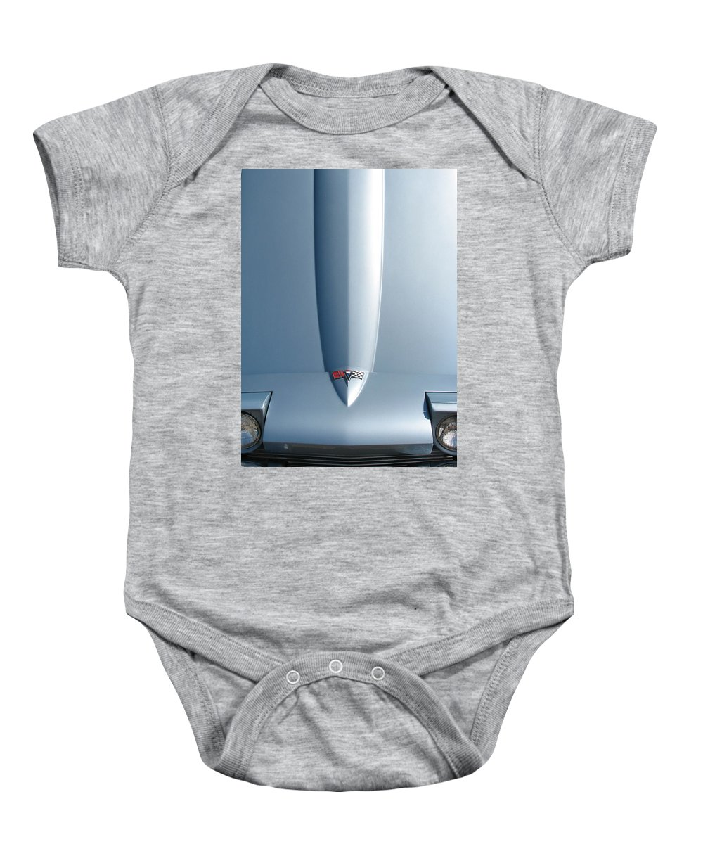 Corvette Baby Onesie featuring the photograph Hood Up With Lights by Kelly Mezzapelle
