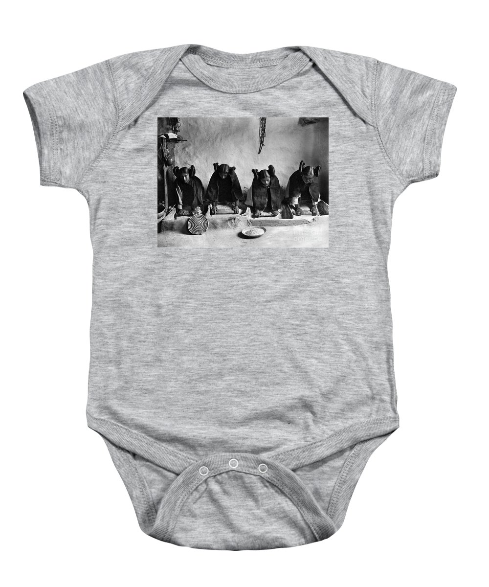 1906 Baby Onesie featuring the photograph Hopi Grinding Grain, C1906 by Granger