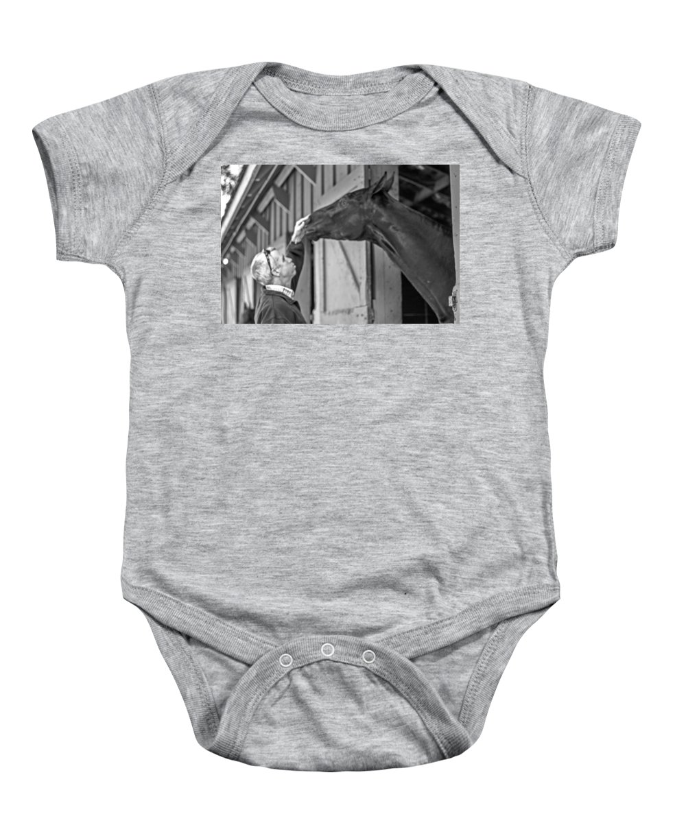 Horse And Man Baby Onesie featuring the photograph Horse And Man by Ellen Berrahmoun