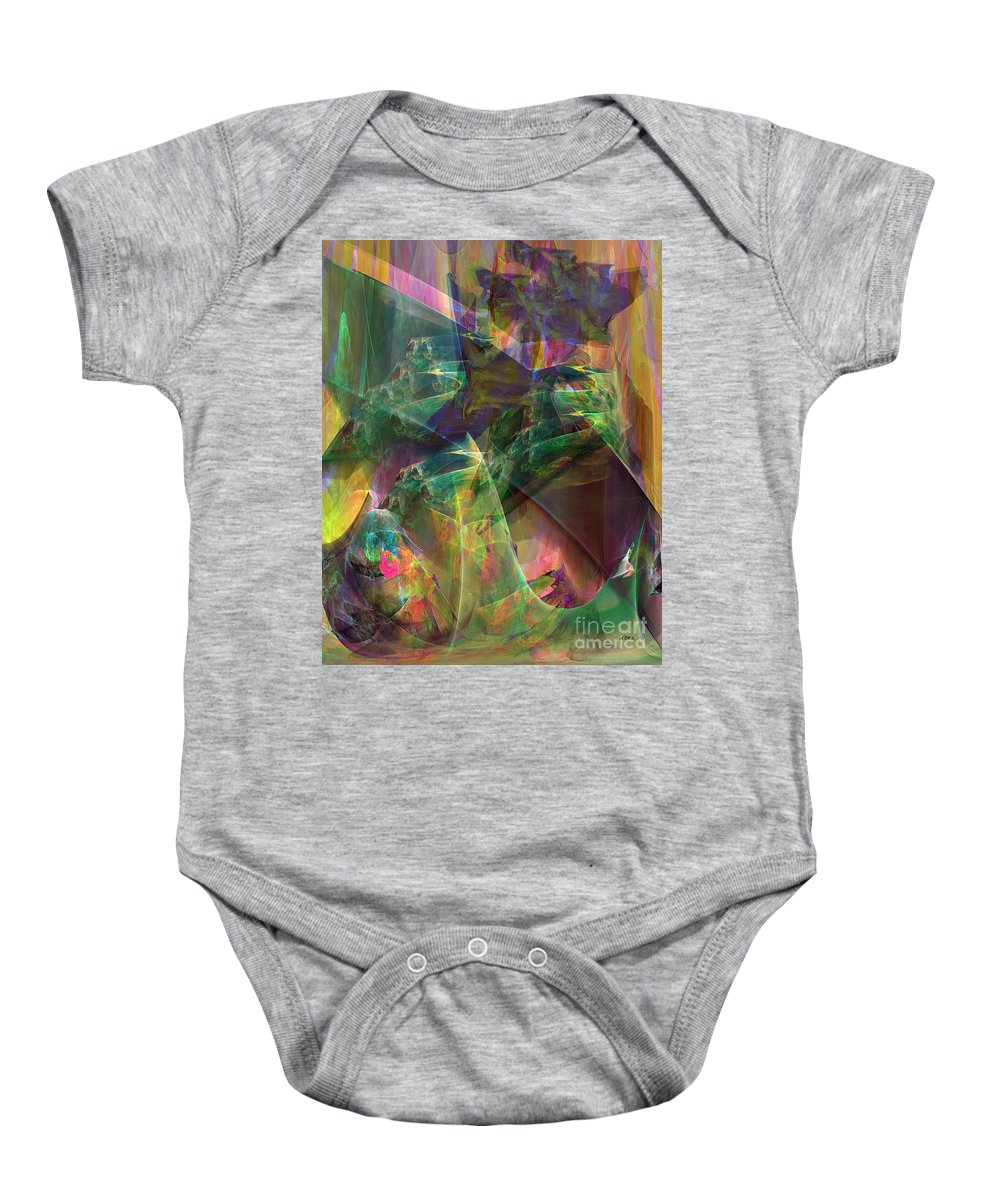 Horse Feathers Baby Onesie featuring the digital art Horse Feathers by John Beck