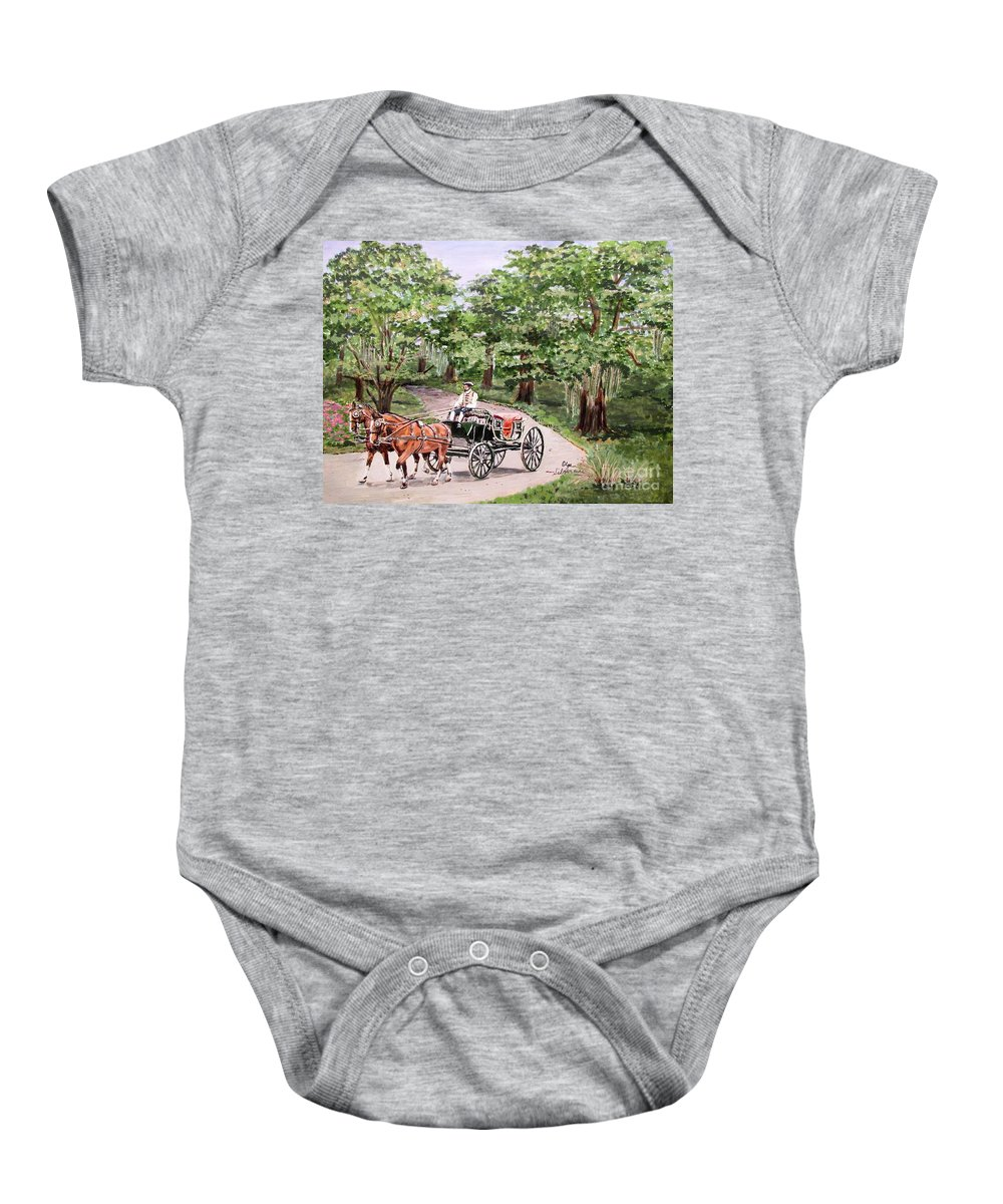 Old Virginia Baby Onesie featuring the painting Horses And Wagon by Olga Silverman