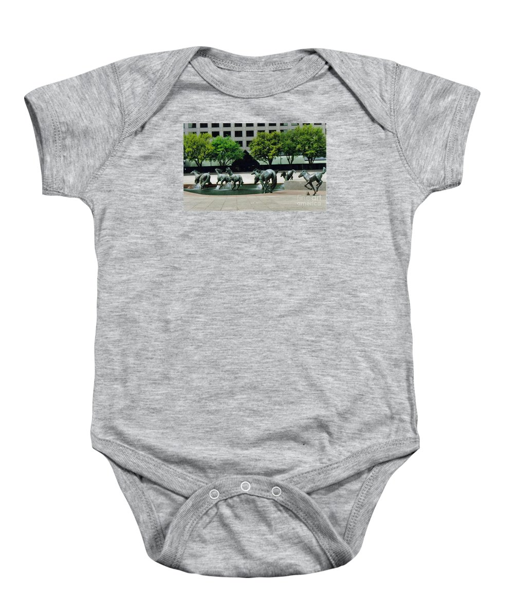 Horses At Williams Square Prints Baby Onesie featuring the photograph Horses At William Square by Ruth Housley