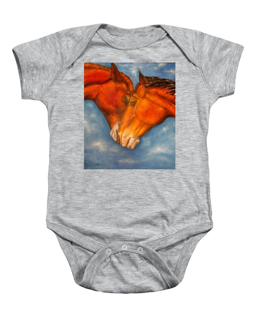 Horses Baby Onesie featuring the painting Horses in love.Oil painting by Natalja Picugina