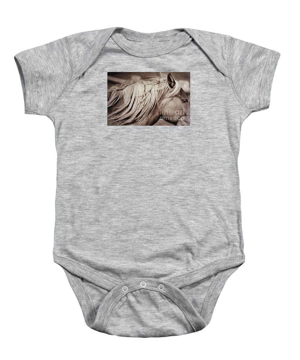 Horses Baby Onesie featuring the photograph Horse's mane by Michael Ziegler