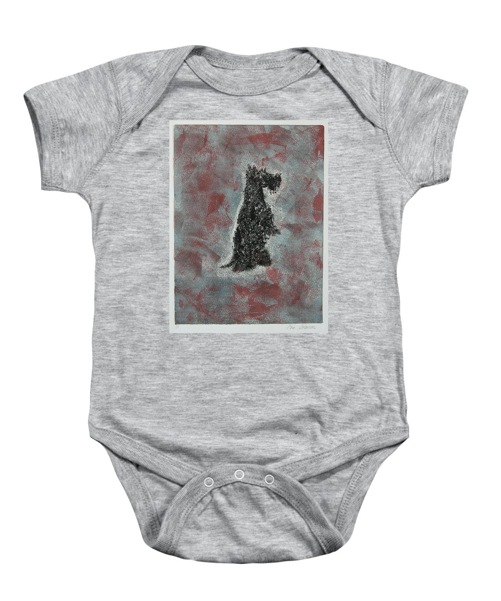 Scottish Terrier Baby Onesie featuring the mixed media Hot Scottie by Cori Solomon