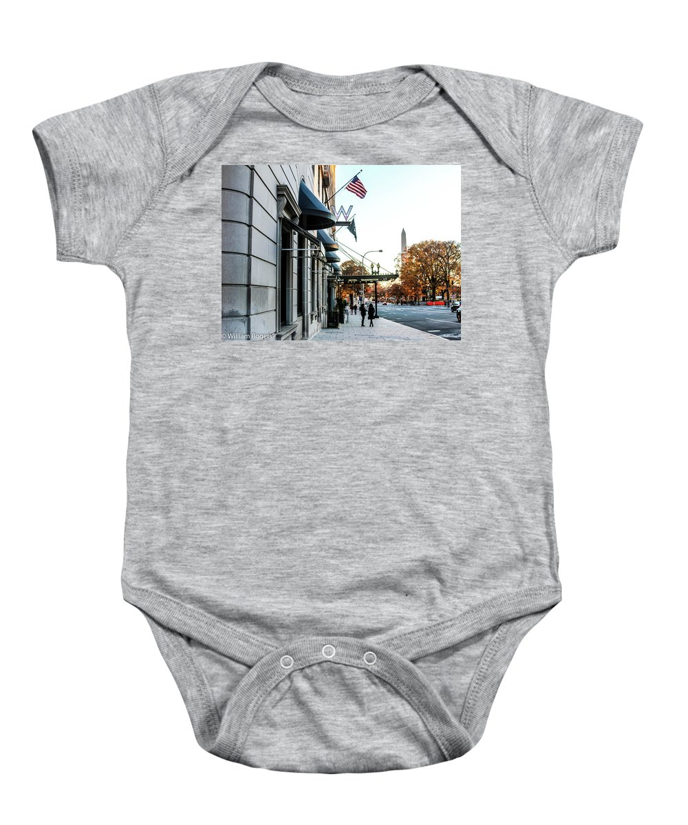 The W Washington Baby Onesie featuring the photograph Hotel Washington by William Rogers