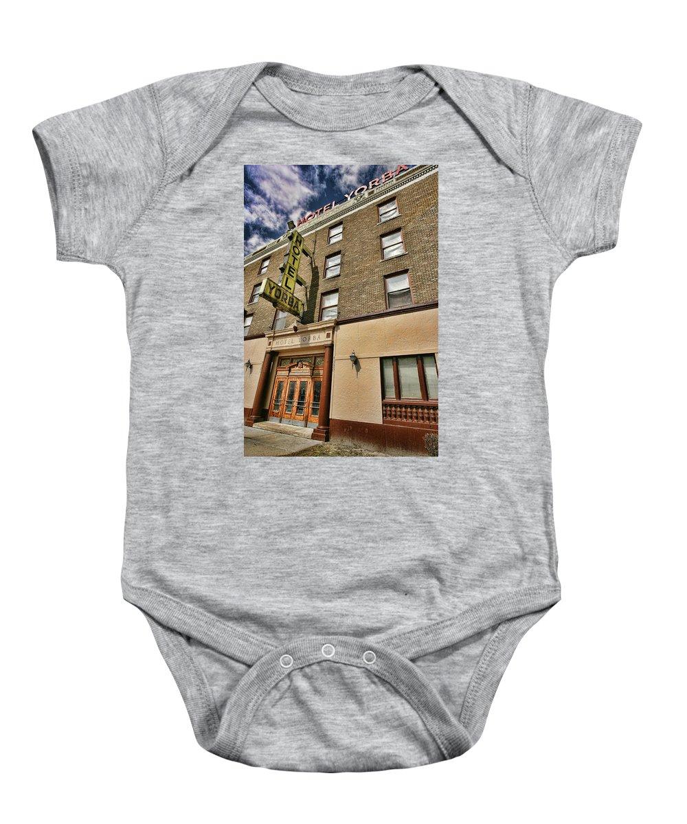 Hotel Yorba Baby Onesie featuring the photograph Hotel Yorba by Gordon Dean II