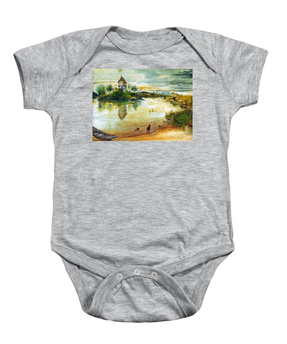 House Baby Onesie featuring the painting House By A Pond by Durer Albrecht