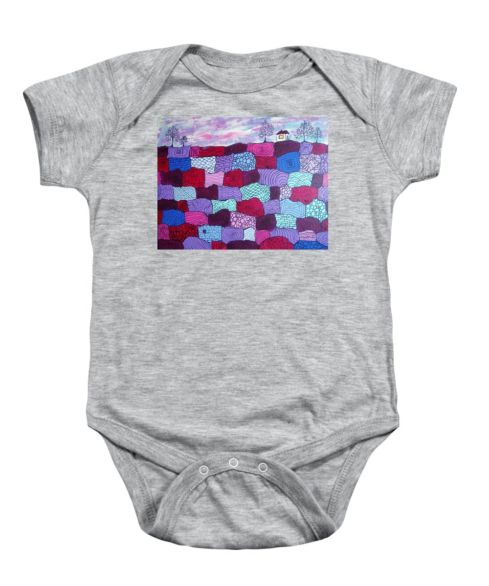 Folk Art Baby Onesie featuring the painting House On Top Of Patchwork Hill by Wayne Potrafka