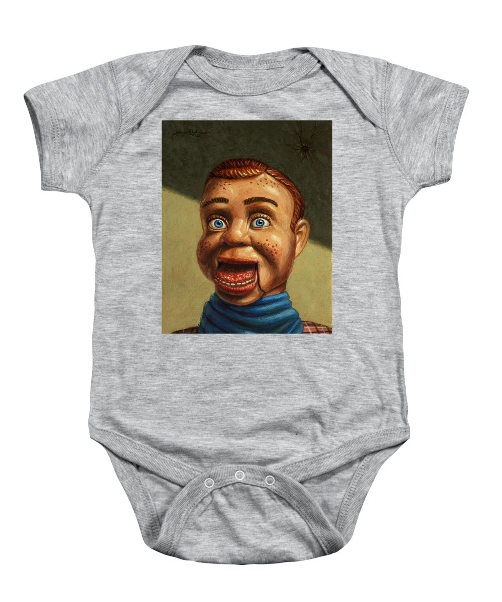 Howdy Doody Baby Onesie featuring the painting Howdy Doody Dodged A Bullet by James W Johnson