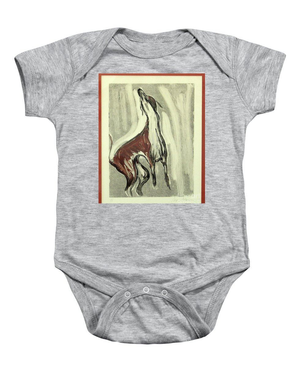 Monotype Baby Onesie featuring the mixed media Howling For Joy by Cori Solomon