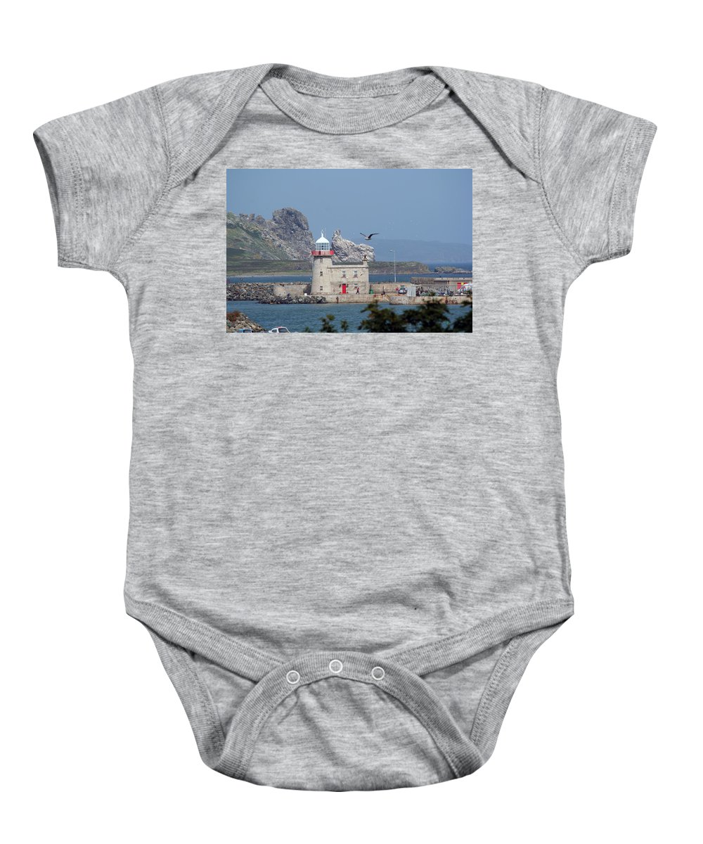 Howth Lighthouse Baby Onesie featuring the photograph Howth Lighthouse 0005 by Carol Ann Thomas