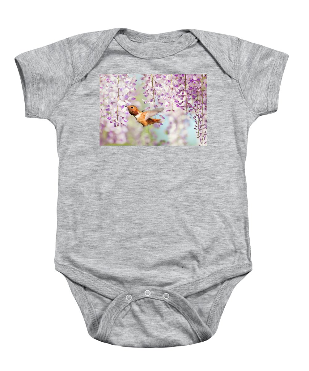 Hummingbird Baby Onesie featuring the photograph Hummingbird At Wisteria by Susan Gary
