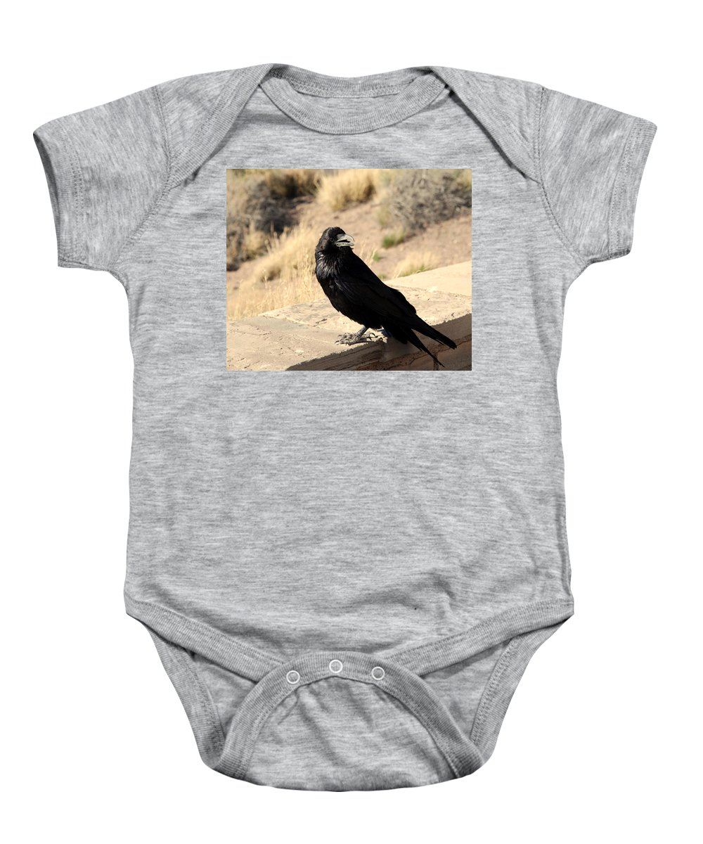 Crow Baby Onesie featuring the photograph Hungry Crow by Susanne Van Hulst