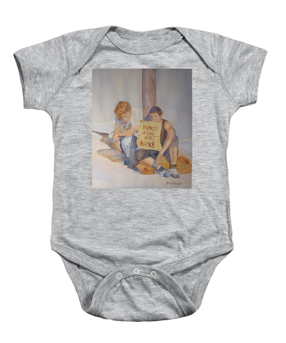 Humorous Baby Onesie featuring the painting Hungry Vegan And Broke by Jenny Armitage