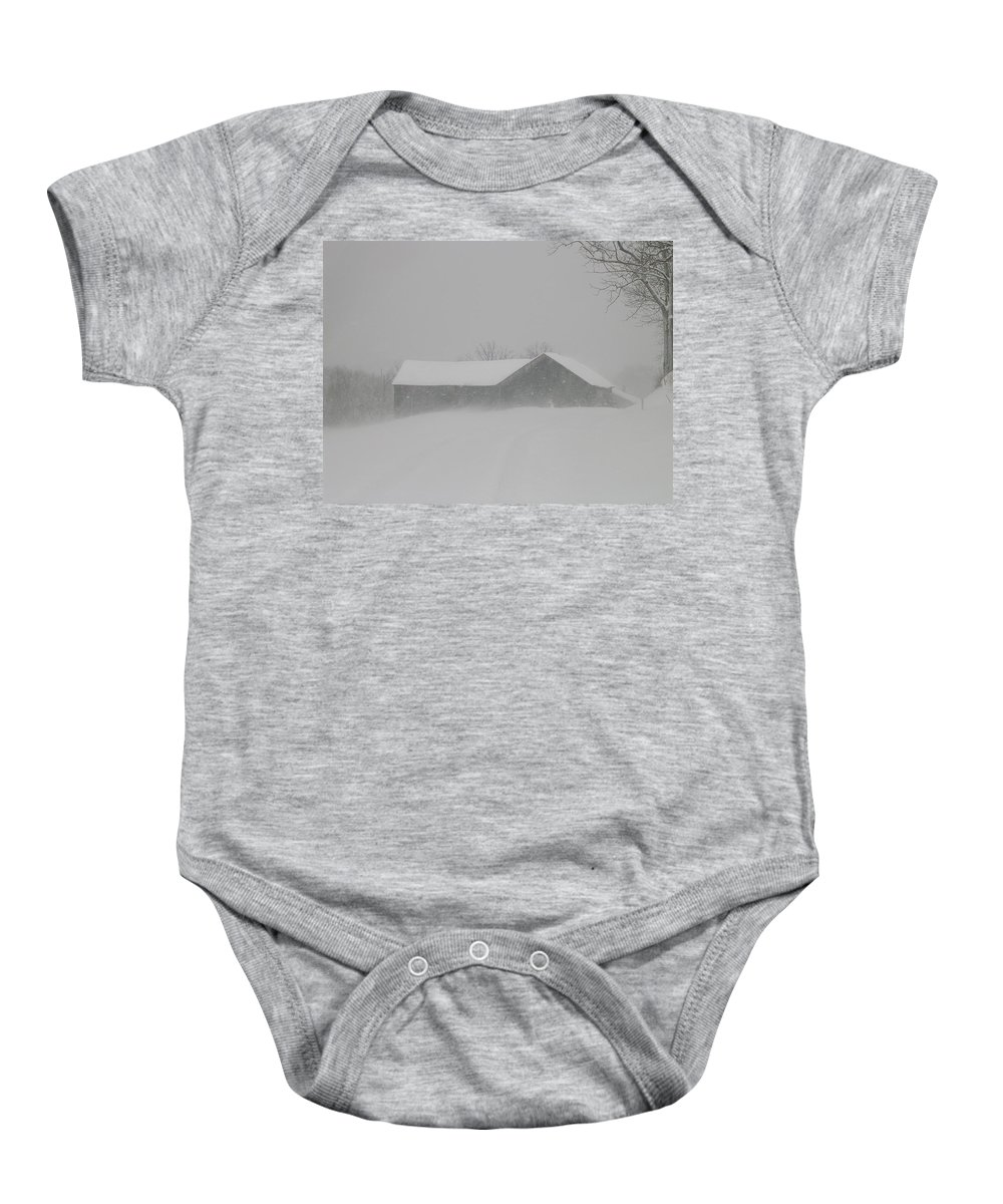 Structural Landscape Of Barn Baby Onesie featuring the photograph Hunker Down by Jack Harries