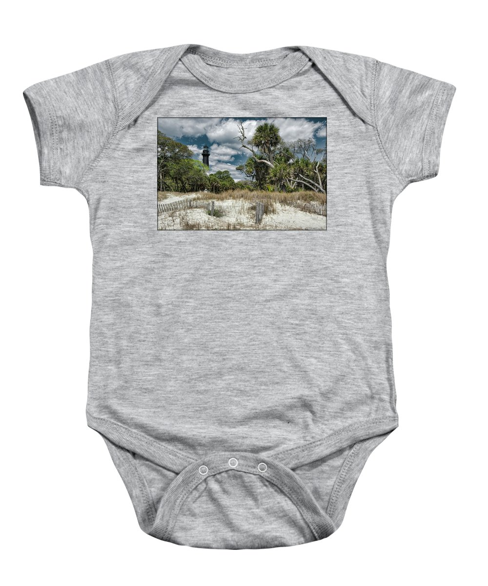 Sand Baby Onesie featuring the photograph Hunting Island Lighthouse by Erika Fawcett