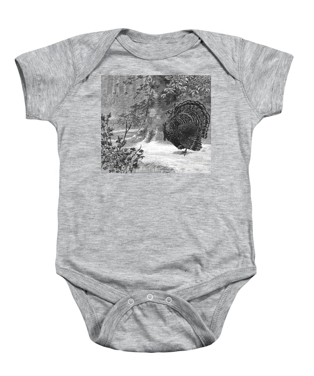1886 Baby Onesie featuring the photograph Hunting: Wild Turkey, 1886 by Granger