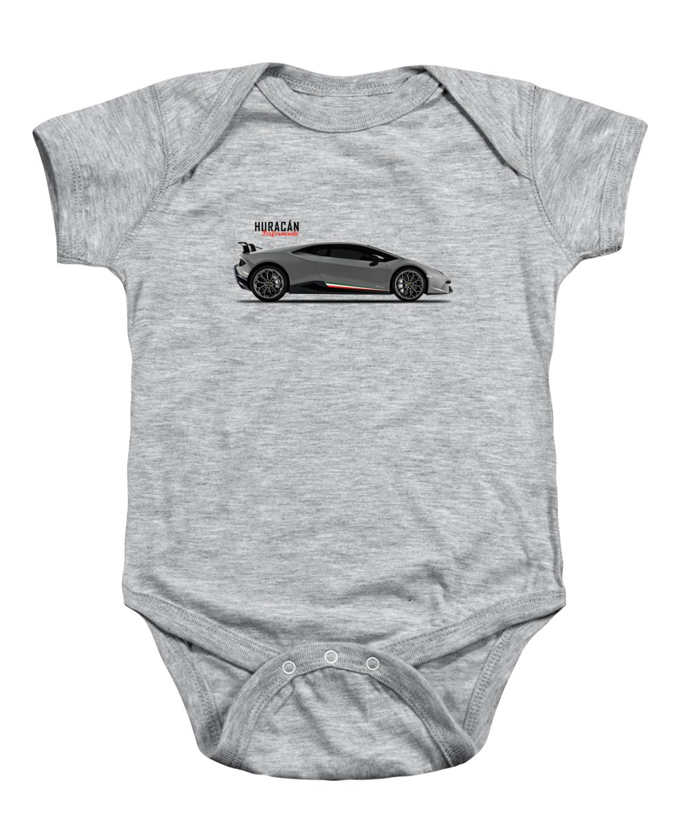 Huracan Performante Baby Onesie featuring the photograph Huracan Performante by Mark Rogan