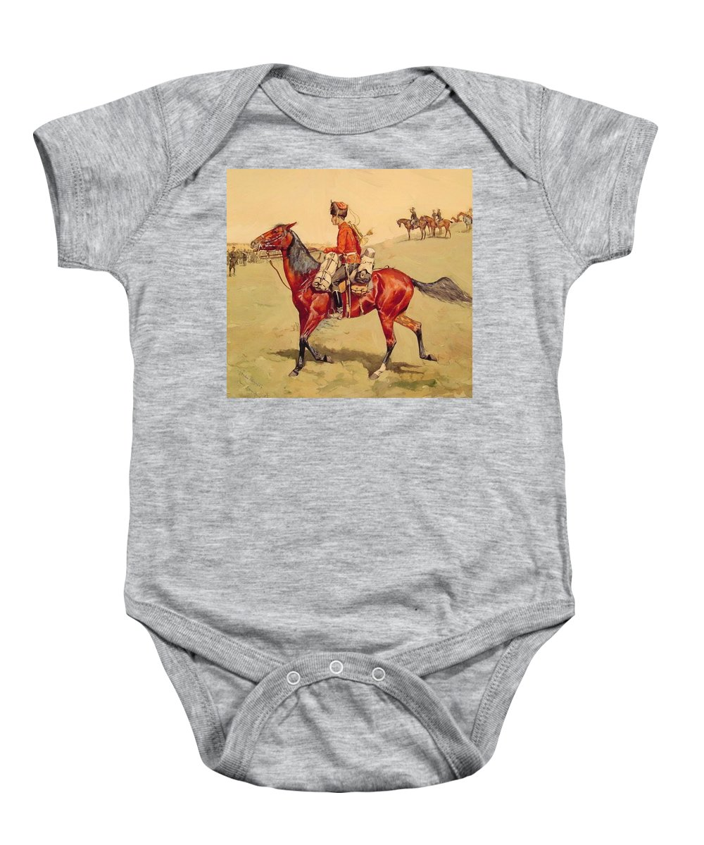 Hussar Baby Onesie featuring the painting Hussar Russian Guard Corps by Remington Frederic