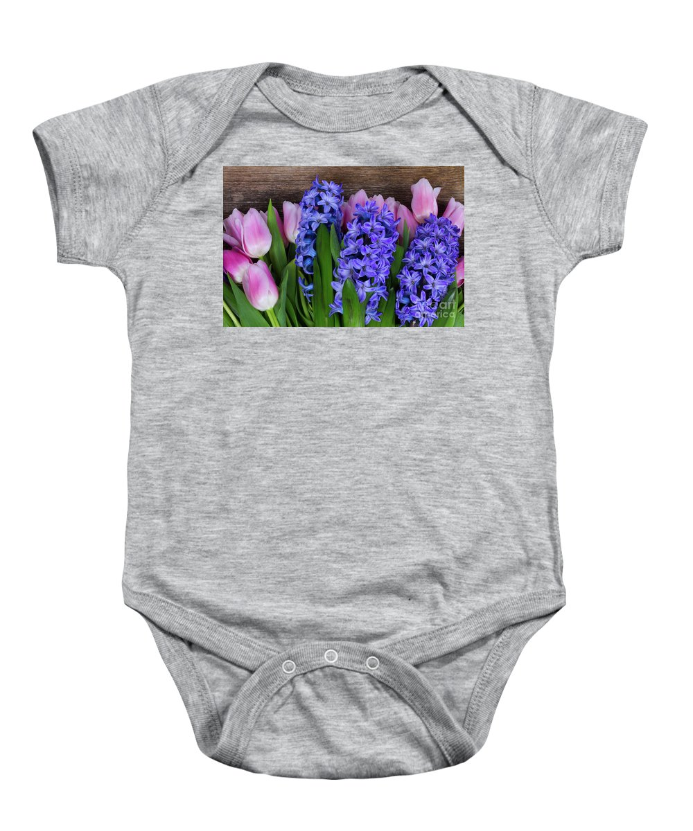 Tulip Baby Onesie featuring the photograph Hyacinths And Tulips II by Anastasy Yarmolovich