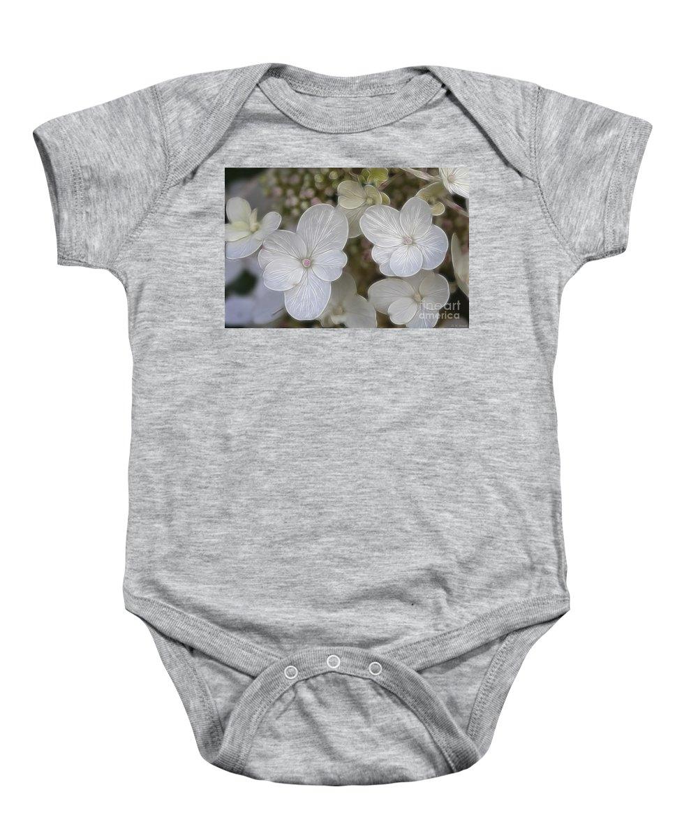 Flowers Baby Onesie featuring the mixed media Hydrangea Fractalius by Deborah Benoit