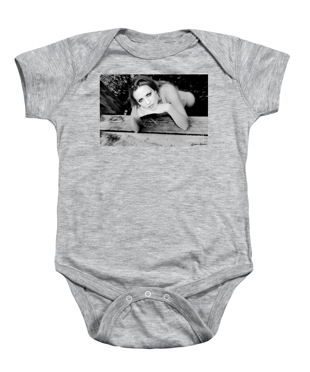 Clay Baby Onesie featuring the photograph Hypnotic Eyes by Clayton Bruster