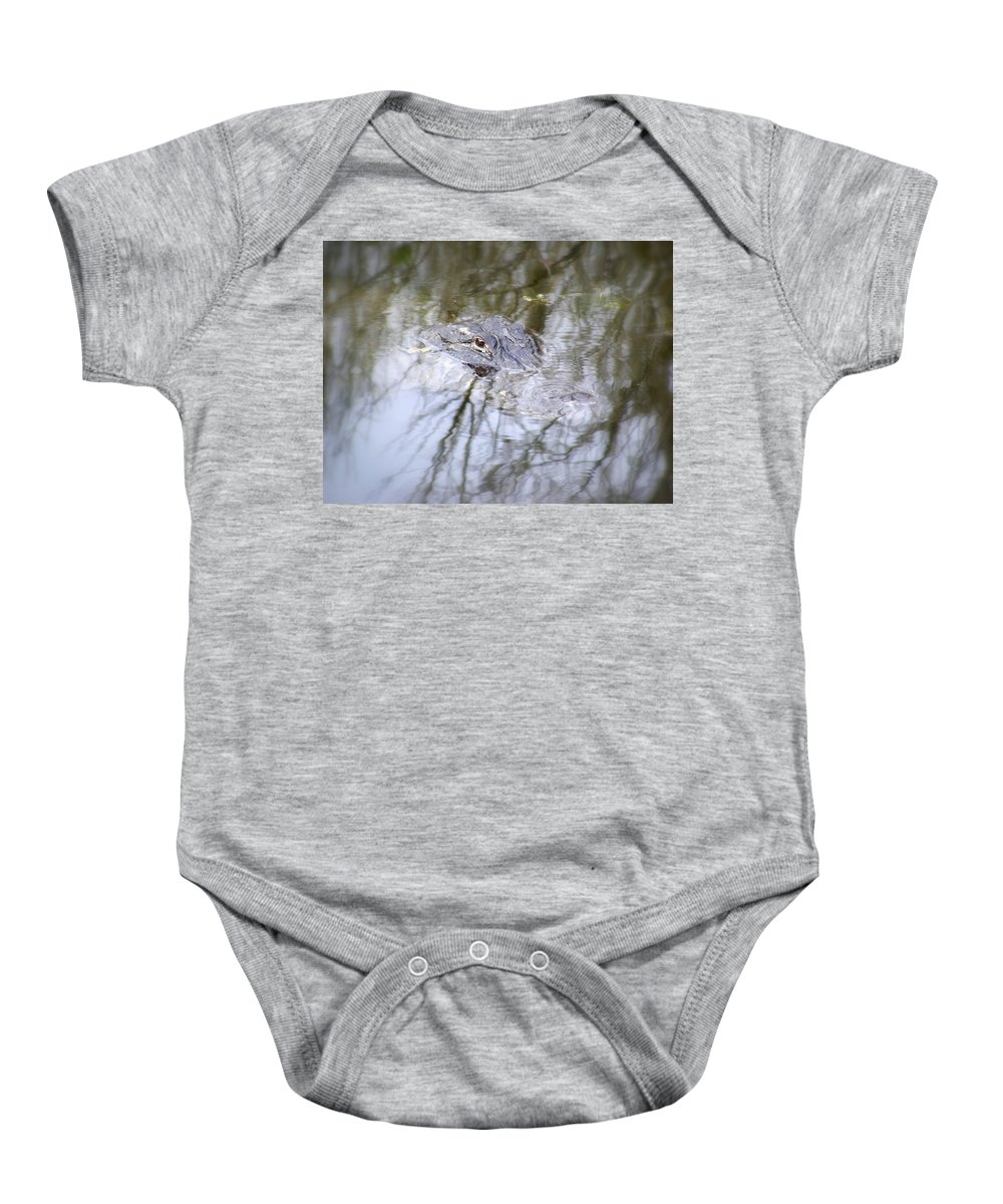 Alligator Baby Onesie featuring the photograph I Am Watching by Ed Smith