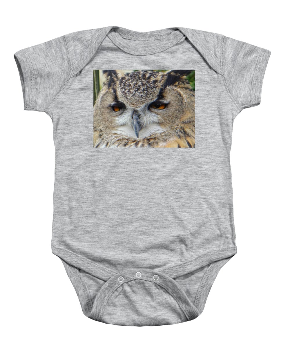 Owl Baby Onesie featuring the photograph I Ate Too Much by Donna Blackhall