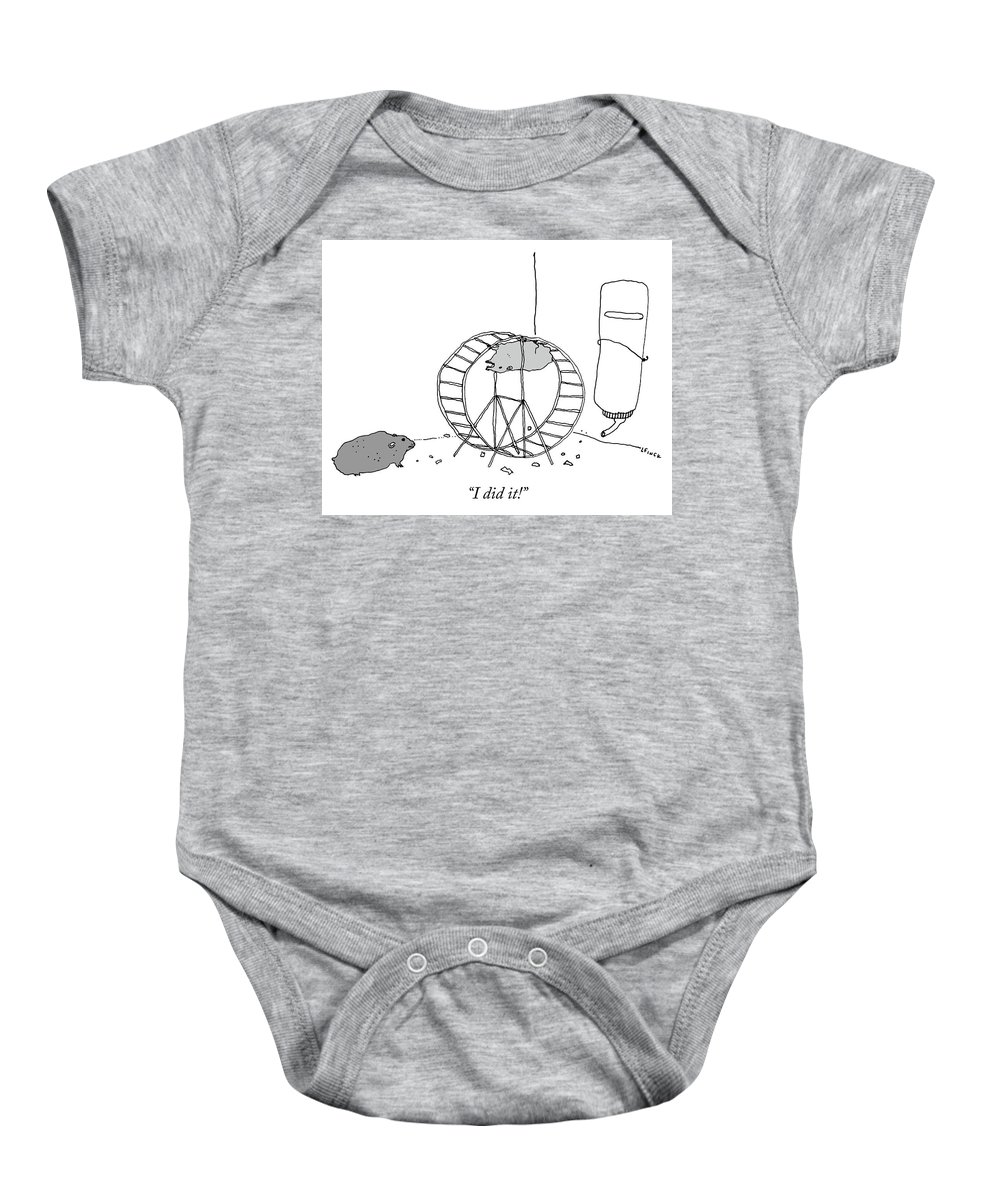 """""""i Did It!"""" Baby Onesie featuring the drawing I Did It by Liana Finck"""
