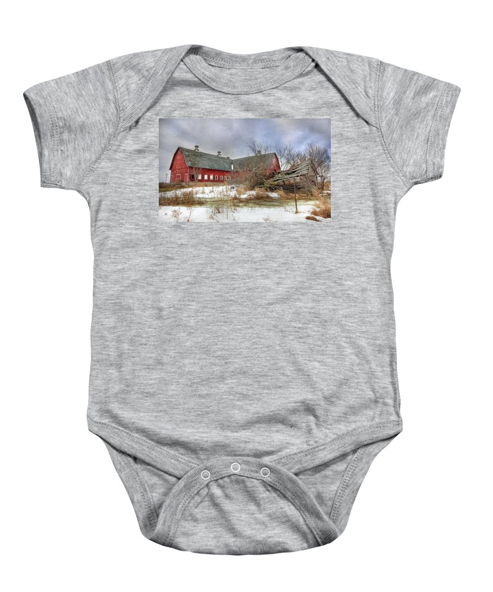 Old Red Barn Baby Onesie featuring the photograph I Fall To Pieces by Lori Deiter