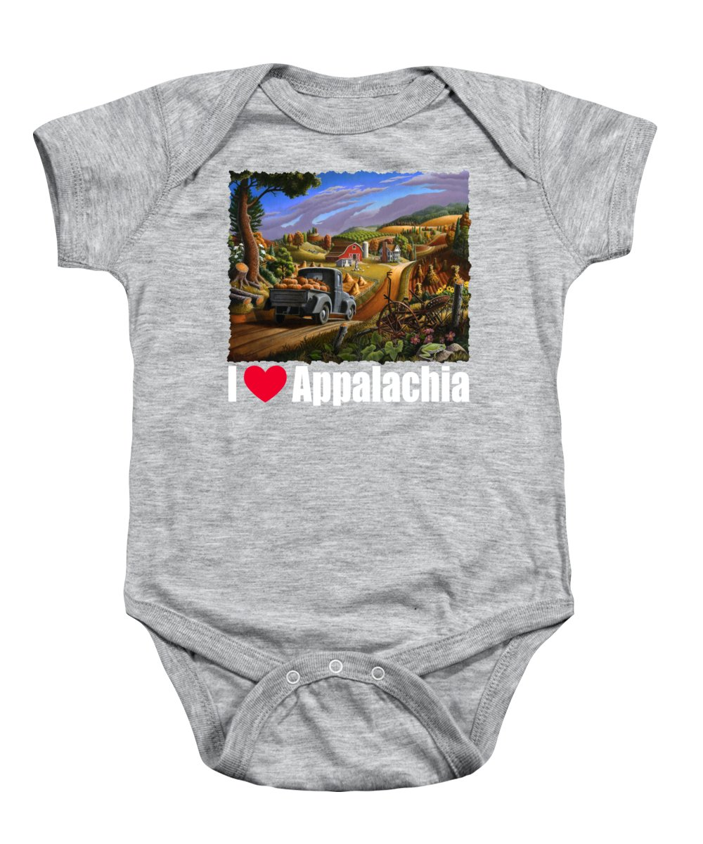 Autumn Baby Onesie featuring the painting I Love Appalachia T Shirt - Taking Pumpkins To Market - Rural Appalachian Landscape 2 by Walt Curlee
