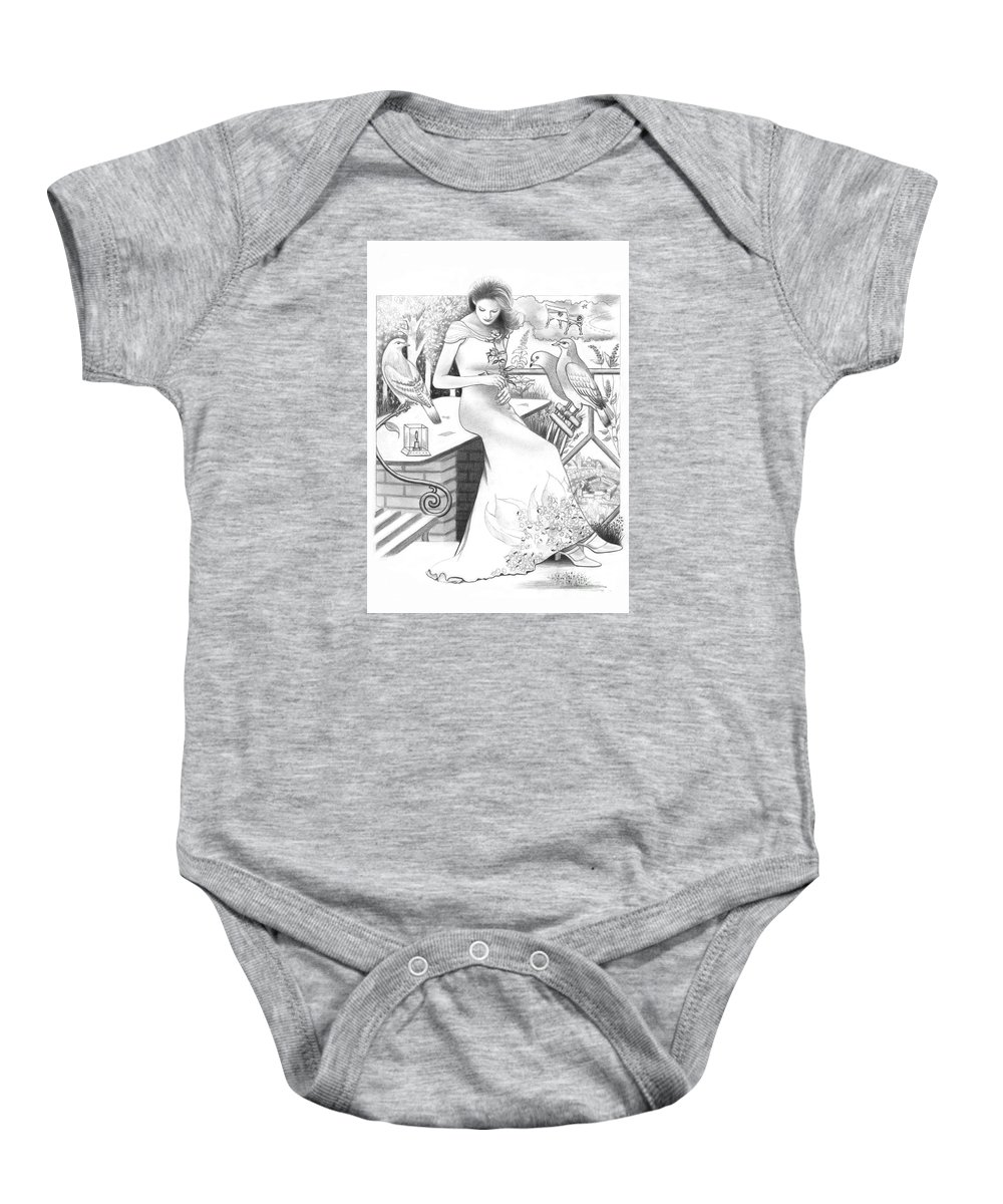 Girl Baby Onesie featuring the drawing I Miss You by Mira Ostojic