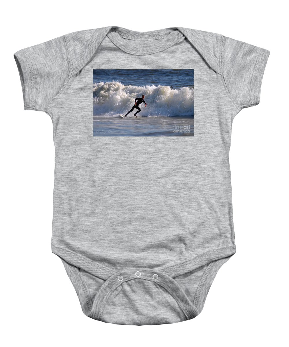 Clay Baby Onesie featuring the photograph I Quit by Clayton Bruster