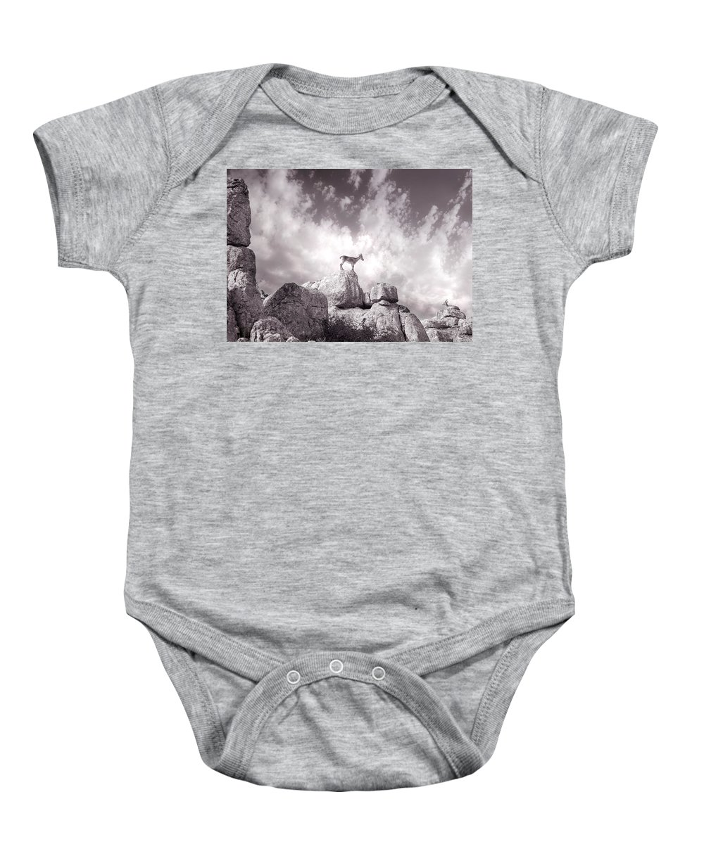 Ibex Baby Onesie featuring the photograph Ibex -the Wild Mountain Goats In The El Torcal Mountains Spain by Mal Bray