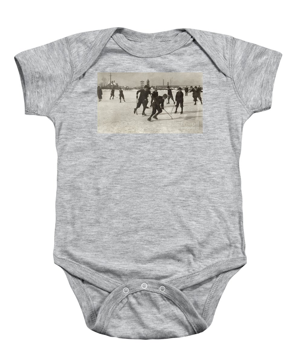 1912 Baby Onesie featuring the photograph Ice Hockey 1912 by Granger