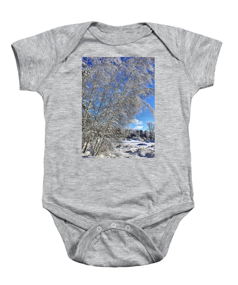 Snow Baby Onesie featuring the photograph Ice Laden Birches by Deborah Benoit