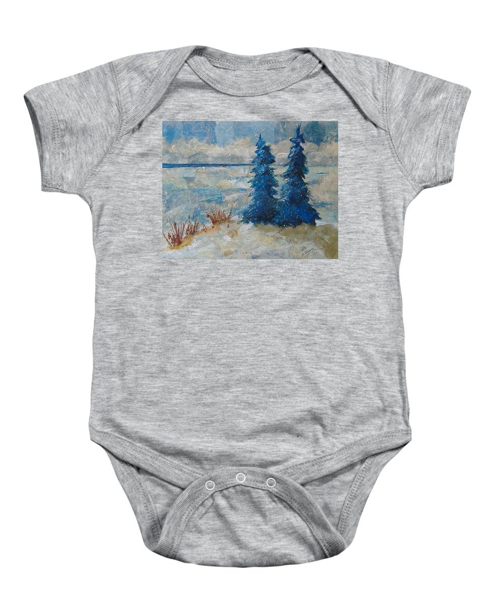 Landscape Baby Onesie featuring the mixed media Ice On Lake Erie by Pat Snook