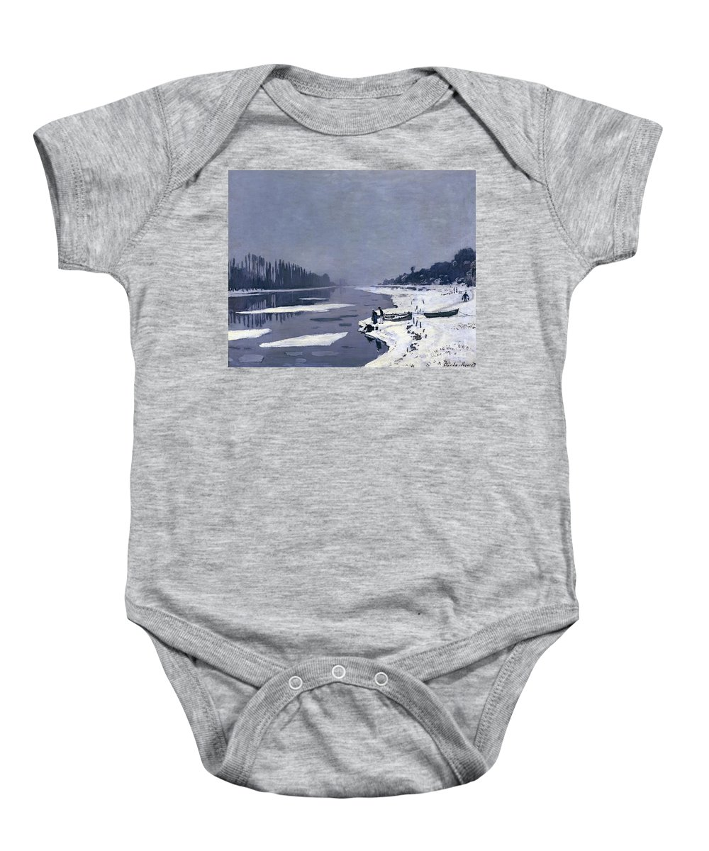 Claude Baby Onesie featuring the painting Ice On The Seine At Bougival by Claude Monet