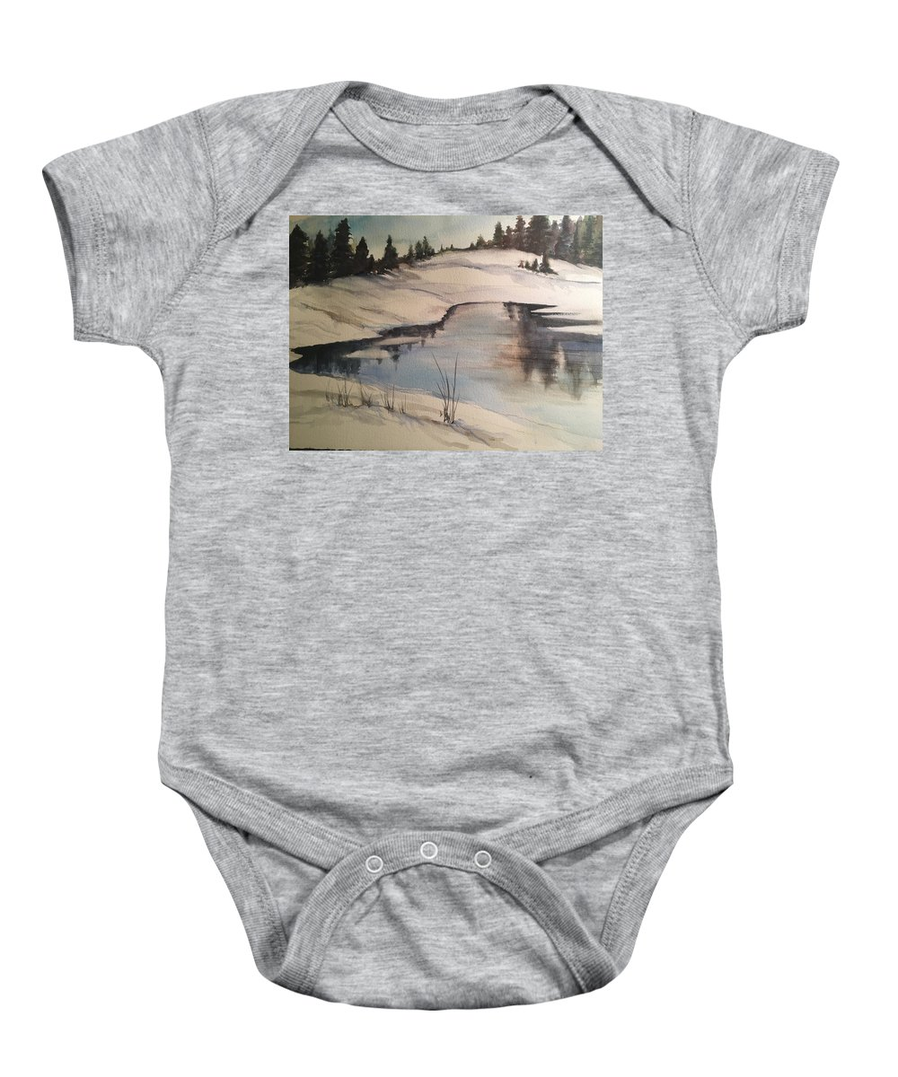 Landscape Baby Onesie featuring the painting Ice Pond by Iva Fendrick
