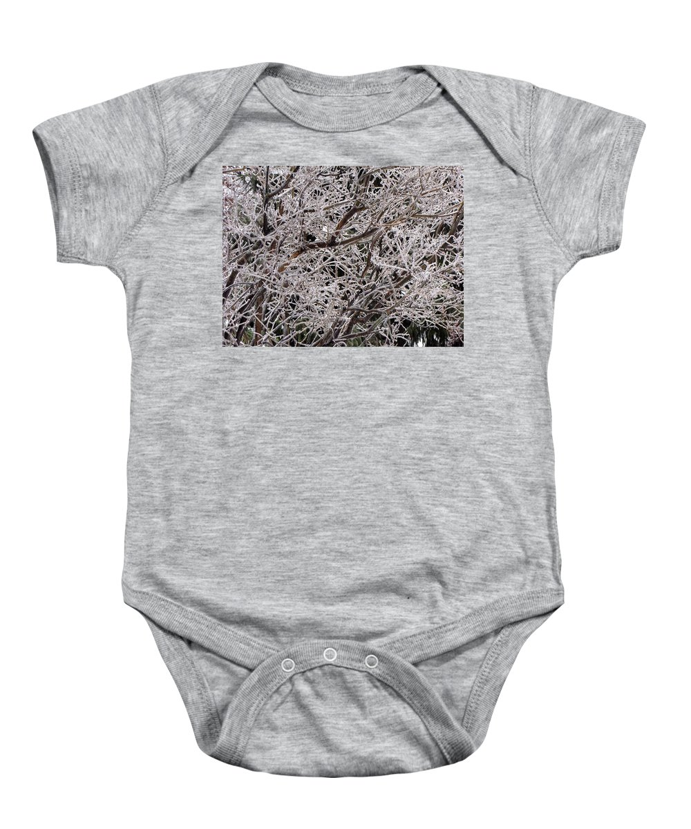 Tree Branches Baby Onesie featuring the photograph Iced Branches by Denise Keegan Frawley